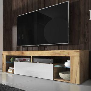 Selsey TV-Schrank BIANKO TV-Lowboard in Holz-Optik Lancaster Eiche mit Klappe in Weiß Hochglanz mit LED-Beleuchtung Stehend 140cm