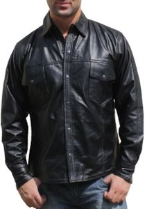 Lederhemd Lammnappa Motorradhemd Chopper echtleder Hemd nappa Leder schwarz, Größe:3XL