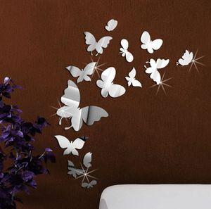 14 Stück DIY Schmetterlinge Wanddekoration Kombination 3D Spiegel Wandaufkleber Wanddeko Wandsticker Haus Dekoration