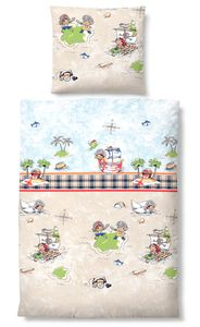 Biberna Linon Bettwäsche für Kinder Pirat 44881-547 kitt  100% Baumwolle , GRÖßENAUSWAHL:135x200 cm + 80x80 cm