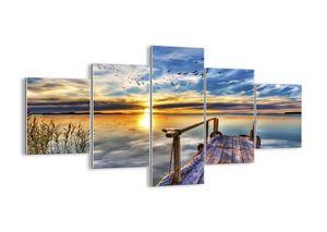 """Glasbild - 125x70 cm - """"Der Wind geht zur Ruhe""""- Wandbilder  - Pier See Vogel - Arttor - GEA125x70-3963"""