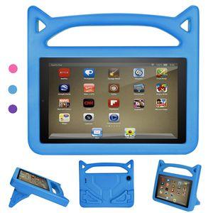 Hülle für All-New Amazon Fire HD 8 Tablet (7th & 8th Generation – 2016 & 2018 Modell) - Superleicht Eva Kids Shock Proof Cover Stoßfest Kindgerechte Schutzhülle, Blau