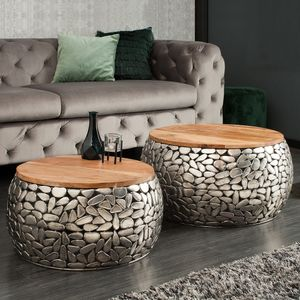 cagü: 2er Set Couchtische [RAVENNA] Silber aus Mangoholz mit Metallplättchen im Mosaik-Design handgefertigt 65cm/55cm Ø Rund