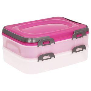 Domotti Dolce Tortenbehälter mit Deckel Behälter für Lebensmittel 2-fach