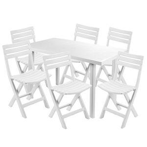 Sitzgarnitur Gartengarnitur 7-teilig Weiß
