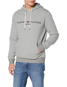 Tommy Hilfiger Herren Logo Pullover Hoodie, Grau L