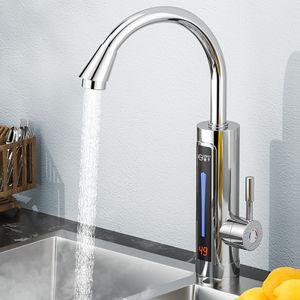3300W Elektrische Wasserhahn Schnellheizungshahn Küche Bad Armatur Durchlauferhitzer mit digitale Wassertemperaturanzeige 360° Drehbar Silber