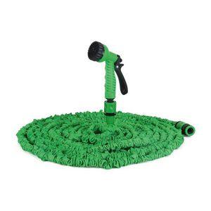 Flexibler Gartenschlauch 15m mit Sprühpistole Grün | Dehnbarer Wasserschlauch Brause | Flexschlauch Bewässerungsschlauch | Schlauch Flexibel Dehnbar