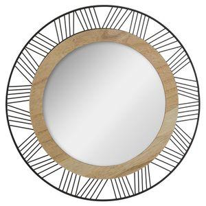 Runder Spiegel für die Wandmontage mit einem dekorativen Rahmen aus Holz und Metall