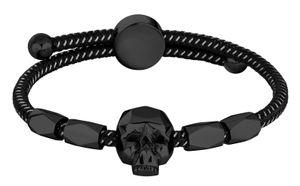 Police Edelstahl Herren Armband schwarz Totenkopf PJ26554BLB.01