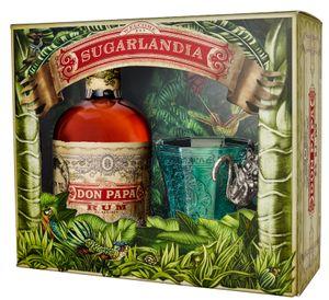 Don Papa Rum Small Batch 7 Jahre mit geprägtem Design-Glas 'Welcome to Sugarlandia' Geschenkset   40 % vol   0,7 l