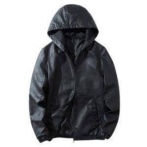 Herren Lederjacke Herbst & Winter Biker Motorrad Reißverschluss Casual Outwear Coat Größe:L,Farbe:Schwarz