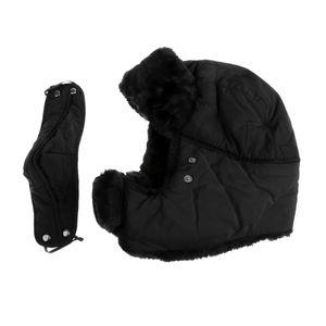 Mens Damen Trapper Plain Russischen Winter Warme Hut Mütze Mit Maske Schwarz Farbe Schwarz