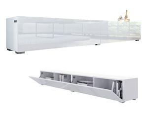 PLATAN ROOM TV Lowboard Hängeboard Board Schrank für Wohnzimmer Wandschrank mit Hochglanz 210 (2x105) cm Länge