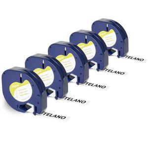 Telano® 5x kompatible Papieretiketten 91200 für Dymo LetraTag Etikettendrucker - Schwarz auf Weiß - 12 mm x 4 m - S0721510 Etikettenband