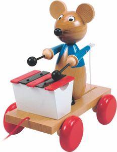 Ziehtier Nachziehtier Maus Nachziehmaus mit Xylophon von Woody, 90197