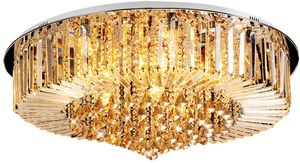 Kronleuchter Kristall Gold Kronleuchter Luxus Deckenleuchte Pendelleuchte Decke Lampe Leuchte Modern für Esszimmer Wohnzimmer Flur Lounge (50cm ohne Lichtquelle) E14