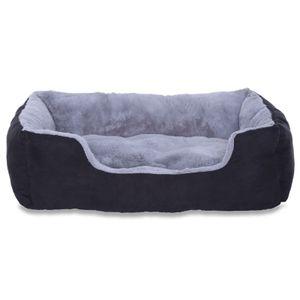 dibea Hundebett, Hundekissen, Hundekörbchen mit Wendekissen, Größe (M) 60x48 cm Farbe grau/schwarz