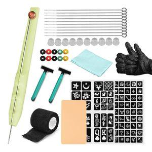 Hand Poke and Stick Tattoo Kit DIY Tattoo Supply Tintenhandschuhe und Inkbox Tattoo Nadeln Set Enthaelt 3RL / 5RL / 7RL / 9RL