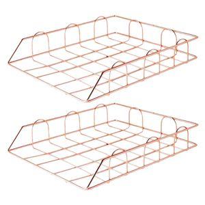Büro Dokumentenablage aus Metall, Briefablage 2 Fächer, Mesh Design Schreibtischablage für A4 Dokument, Roségold