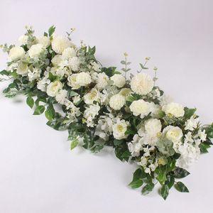 50 cm benutzerdefinierte Hochzeitsblumen-Wanddekoration liefert künstliche Blumenreihendekor Romantische Bogenkulisse