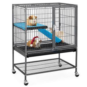 Yaheetech Kleintierkäfig, Metallkäfig für kleine Haustiere, Kaninchenstall mit 4 Räder, Käfig mit Rampen & Plattformen