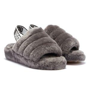 UGG Fluff Charcoal Graue Damen Sandalen