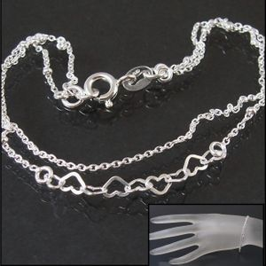 Armkette 2-lagig Ankerkette 925 Silber Herzen Perlen 19cm 14924-19