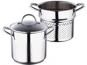 EDELSTAHL Spaghettitopf  SET 3-tlg. - 5 L Topf mit Glasdeckel - INDUKTION - Induktionstopf - Dampfkochtopf - Pastatopf - Nudeltopf