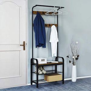 Meerveil Vintage Garderobenständer, Schuhregal mit Sitzfläche, Kleiderständer mit abnehmbaren 9 Haken, 3 Ebenen Garderobe, 2 Gitterablagen