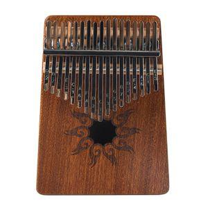17-Ton Kalimba Daumen Klavier Flame Pattern Pine Wood Musikinstrument mit Lernbuch Tune Hammer