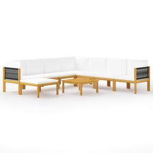 Hochwertigen Garten Sitzgruppe Gartengarnitur - 9-teiliges Garten-Lounge-Set - Gartengarnitur Set mit Kissen Cremeweiß Massivholz Akazie☆1627