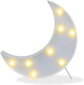 LED Mond Nachtlicht für Kinder Weihnachtsgeschenk, Kunststoff Mond Lampe mit Batterie oder USB betrieben, Nachbildung Licht für Weihnachten, Geburtstag, Wohnzimmer, Dekoration (weiß)