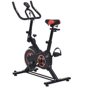 HOMCOM Indoor Fahrradtrainer, Home Gym Cycling Bike Trainer, Fitnessfahrrad, Stufenlos Widerstand, Stahl, 45 x 90 x 96-106 cm