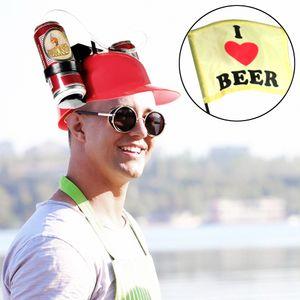 Bierhelm mit Strohhalmen, Biertrinkhelm, Roter Trinkhelm mit zwei Bierhaltern für zwei Dosen