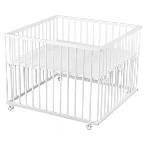 Sämann® Laufgitter 100x100 Buche Holz weiß, stufenlos höhenverstellbar, gummierten Rollen, Laufstall Baby