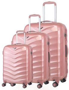 Verage Seagull Hartschalenkoffer  3er Koffer-Set S+M+L (55-66-75 cm) Pink Rosegold, 4 Doppelrollen TSA-Schloss, 3 teilig Hartschale-Reisekoffer-Set mit Handgepäck Koffer Trolley