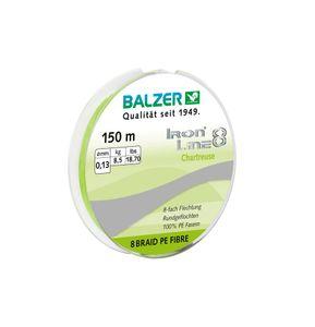 Balzer Iron Line Chartreuse - 150m geflochtene Angelschnur, Durchmesser/Tragkraft:0.18mm / 12.7kg