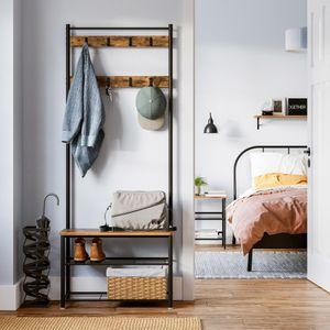 VASAGLE Garderobenständer 175 x 70 x 32 cm aus Holz Metall Kleiderständer mit 9 Haken Schuhablage und Sitzfläche Vintage HSR41BX