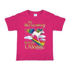Schulanfang Kinder T-Shirt Einhorn Sternenstaub, pink, Größe:134/140