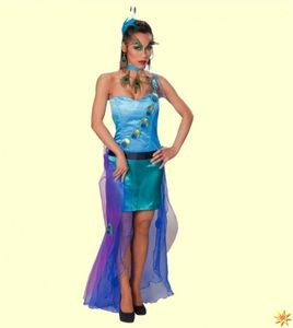 Damen Kostüm Pfau, Kleid Vogel, Gr. 34