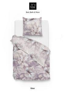 Zo! Home Baumwolle Bettwäsche Mako-Satin 135x200 cm Blume grau Magnolie Vinn Multi