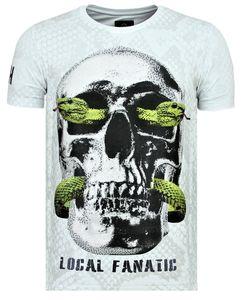 Skull Snake Rhinestones - T- Shirt Totenkopf - Weiß - M