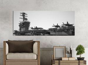 Leinwandbilder 1Tlg 100x40cm  schwarz weiß   Flugzeug Flugzeugträger Krieg Schiff  Leinwandbild Kunstdruck Wand Bilder Vlies Wandbild Leinwand Bild Druck 9Z1852, Leinwandbild Größe:100x40cm
