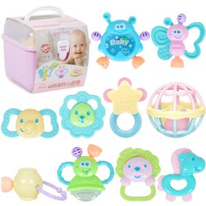 10 Stück Set Tragbares Baby Rasseln Beißring Shaker Grab & Spin Rassel Spielzeug Set Lernspielzeuge Baby Spielzeug Rosa Box