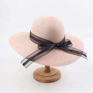 Mode Frauen Sommer Sonnenhut Strohhut Breite Krempe Elegante Band Schleife Kuppel Panama Vintage Boho Beach Holiday Cap