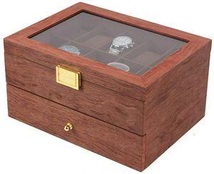 Uhrenbox für 20 Uhren, Uhrenkasten mit Glasdeckel,20 Slot Uhren Vitrine Schmuck Schrank Schublade Lagerung Organizer Uhrenkoffer Fall