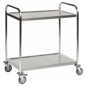 Kongamek Edelstahl- Tischwagen rostfrei mit 2 Böden 825x500mm mit Polyurethanbereifung und Bremse