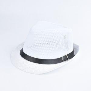 Mode Uni Sun Hut Strohhut Solid Hollow Out Metall Guertel Sommer Sunbonnet Trilby Fedora Beach Panama Hat