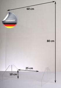 Hochwertiger Spuckschutz aus Acrylglas | Ideal für Verkaufs-/ und Empfangstresen | Thekenaufsteller | Protector, Größe:60x80 cm